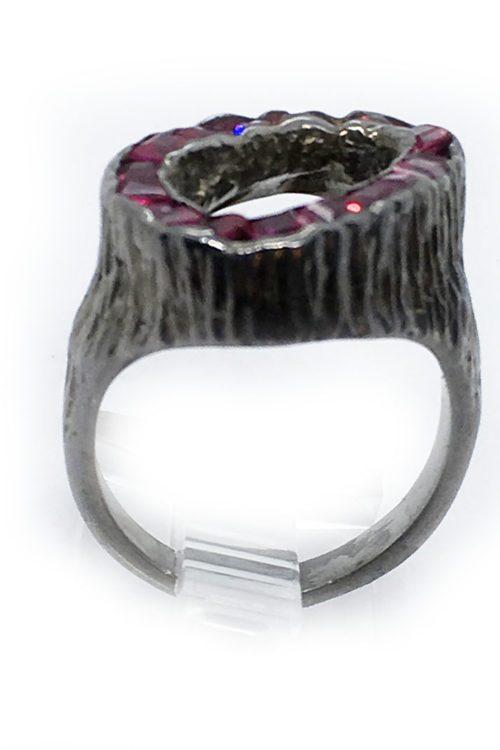 Korund 925 Sterling Silver and Black Rhodium Plating Ring