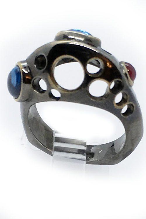 Korund 925 Sterling Silver Black Rhodium and Gold Plating Ring v2