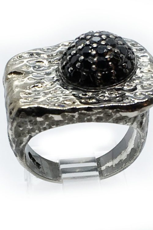 Onyx 925 Sterling Silver Black Rhodium and Gold Plating Ring