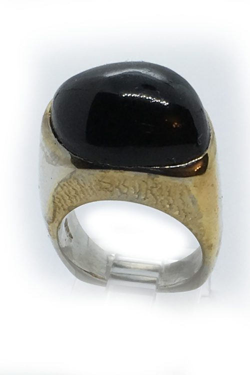 Tourmaline 925 Sterling Silver Black Rhodium and Gold Plating Ring