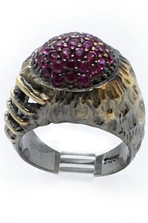 Korund 925 Sterling Silver Black Rhodium and Gold Plating Ring