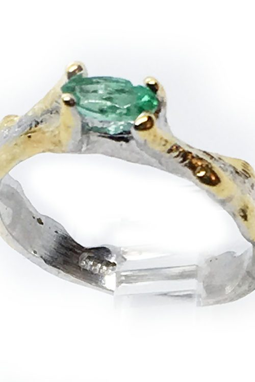 Emerald 925 Sterling Silver Black Rhodium and Gold Plating Ring