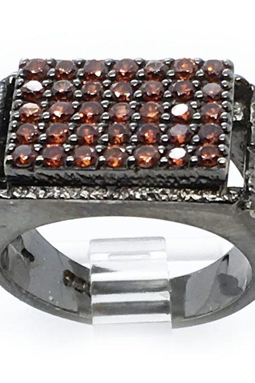 Garnet Stones 925 Sterling Silver Black Rhodium Plating Ring