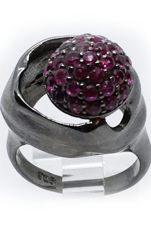 Korund Stones 925 Sterling Silver Black Rhodium Plating Ring v2