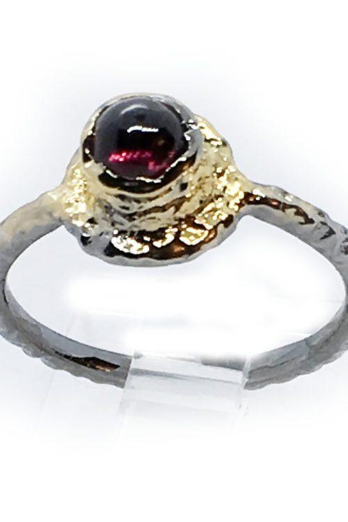 Garnet 925 Sterling Silver Black Rhodium and Gold Plating Ring