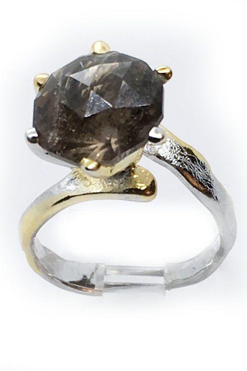 Smoky Quartz 925 Sterling Silver Black Rhodium and Gold Plating Ring