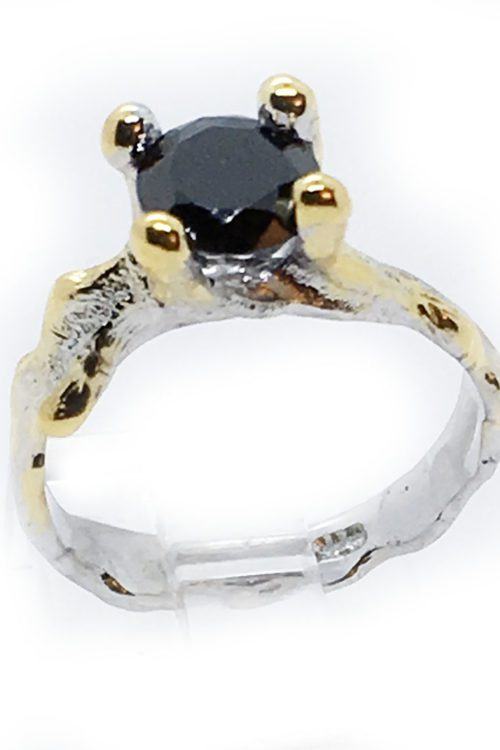 Black Onyx 925 Sterling Silver Black Rhodium and Gold Plating Ring