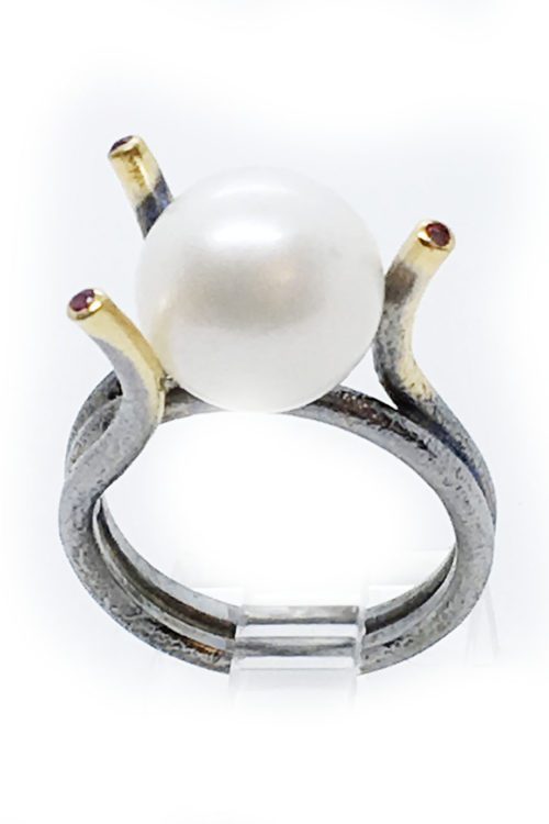 Real Pearl 925 Sterling Silver Black Rhodium and Gold Plating Ring