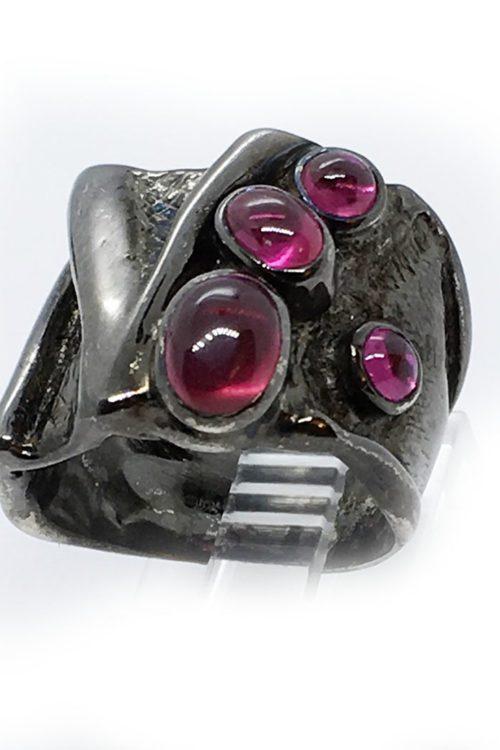 Korund Stones 925 Sterling Silver Black Rhodium Plating Ring