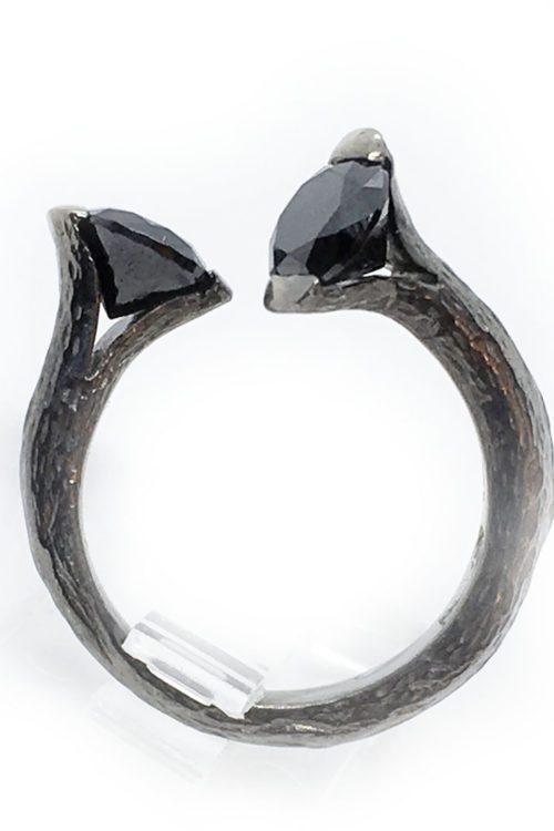 Onyx Stone 925 Sterling Silver Black Rhodium Plating Ring