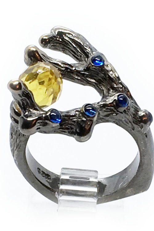 Swarovski 925 Sterling Silver Black Rhodium Plating Ring
