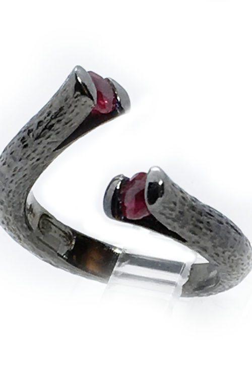 Ruby Stones 925 Sterling Silver Black Rhodium Plating Ring
