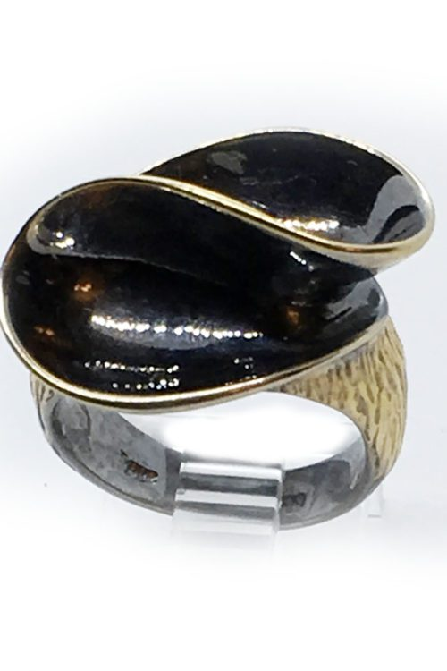 925 Sterling Silver Black Rhodium and Gold Plating Ring