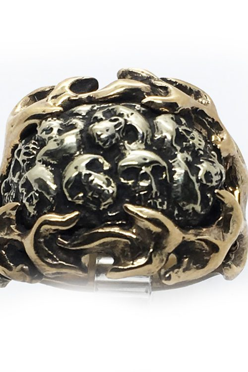 Skulls with Fire Sterling Silver and Bronze Ring