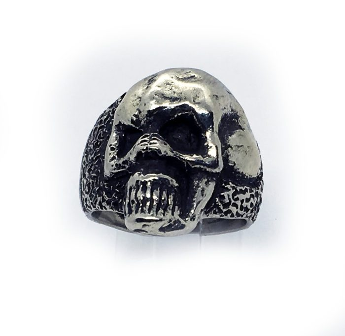 Abstract Women Body Shaped into A Skull Sterling Silver Ring