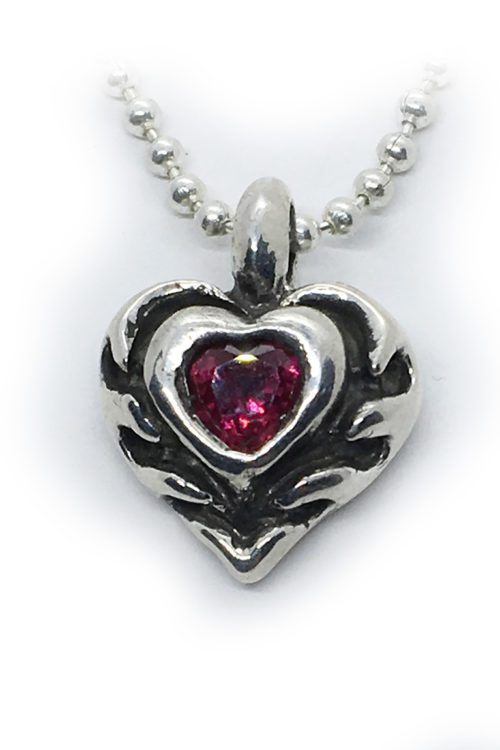Flame of Heart with Red CZ Heart Stone Sterling SIlver Pendant