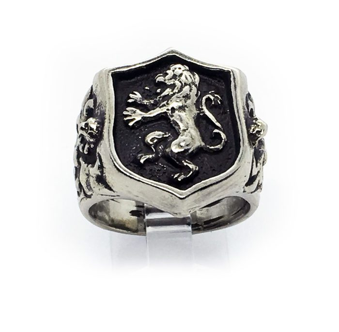 Lion Shield with Eagle and Snake Sterling Silver Ring