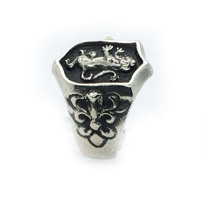 Lion Shield with Eagle and Snake Sterling Silver Ring 4