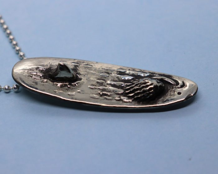 Shark Attack Surfboard Sterling Silver Pendant 8