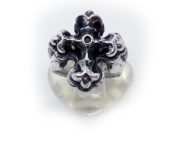 Gothic Cross with Ruby Stone Silver Ring