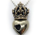 Crown Heart in Heart Sterling Silver Pendant
