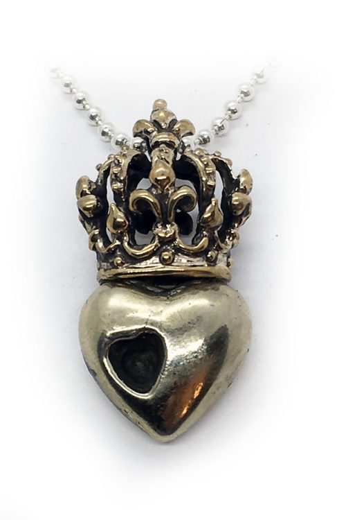 Crown Heart in Heart Sterling Silver Pendant