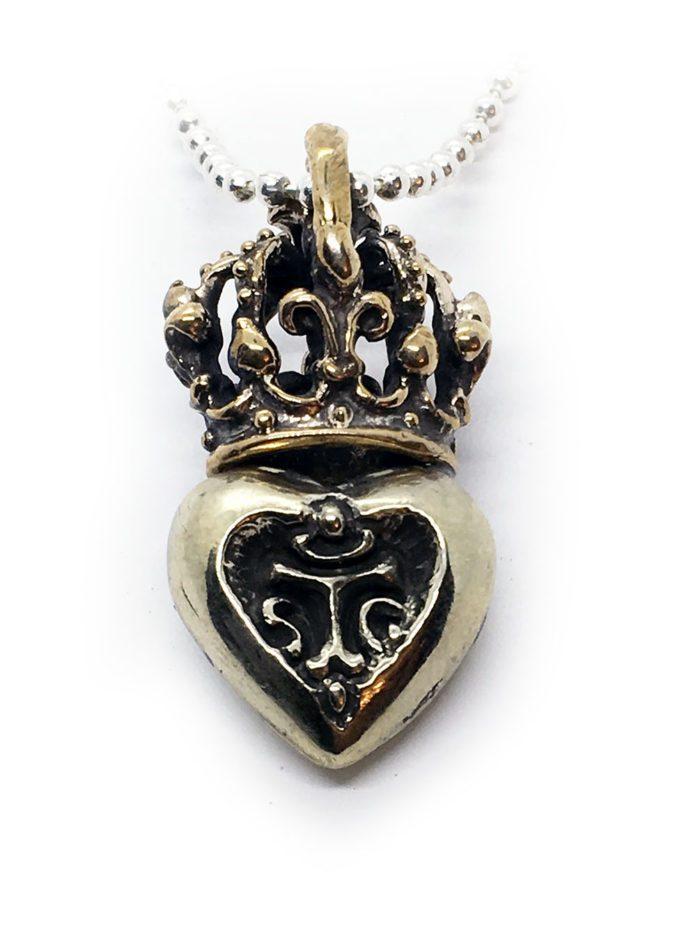Crown Heart in Heart Sterling Silver Pendant 3