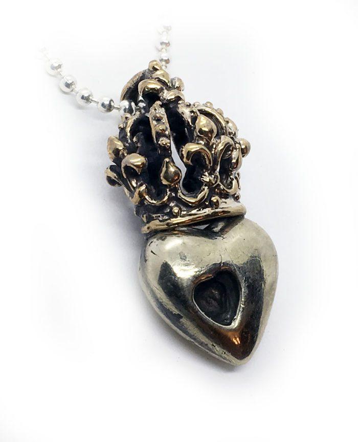 Crown Heart in Heart Sterling Silver Pendant 2