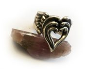 3 heart with wings ring