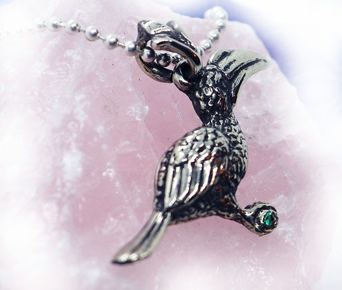 Hornbill Silver Pendant with Green CZ Stone 3