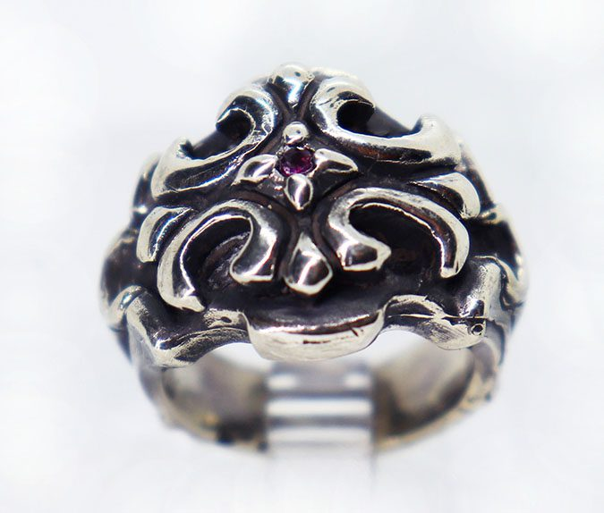 Cross Design with Ruby Stone Sterling Silver Ring 2