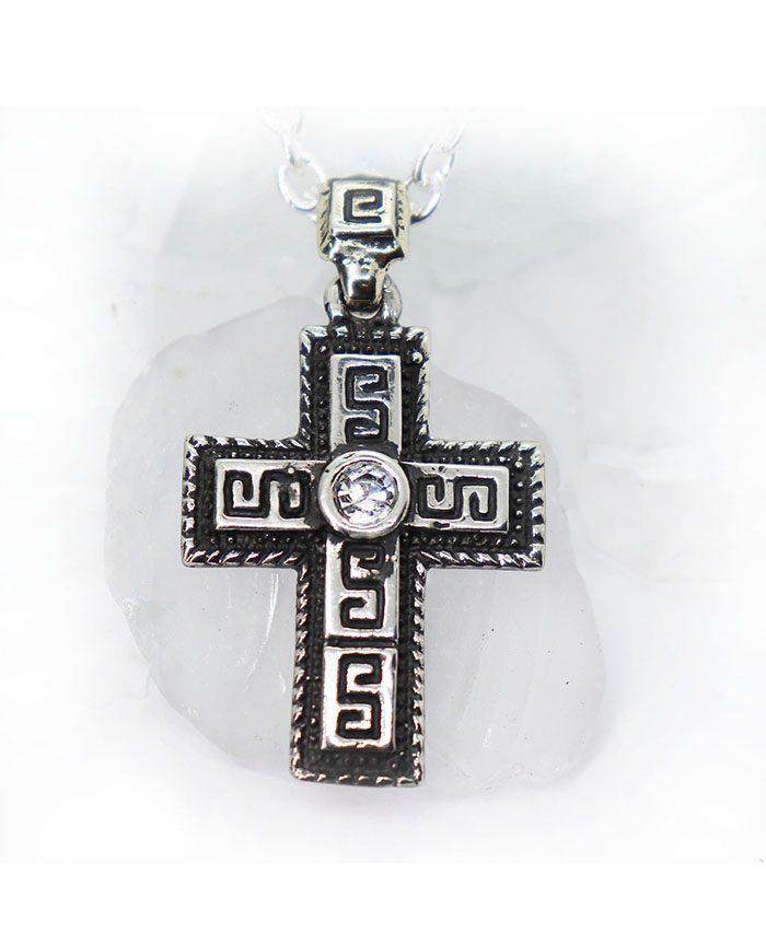 Ancient Design Cross Sterling Silver Pendant