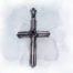 Cross With Onyx Stone Sterling Silver Pendant