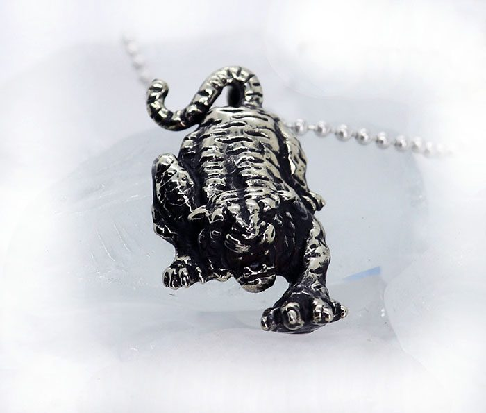 Attacking Tiger Sterling Silver Pendant