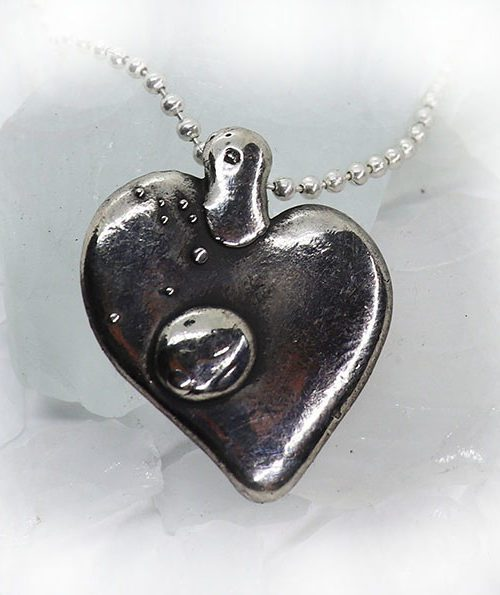 Natural Heart Sterling Silver Pendant