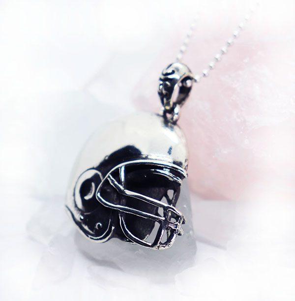 Football Helmet Sterling Silver Pendant 2