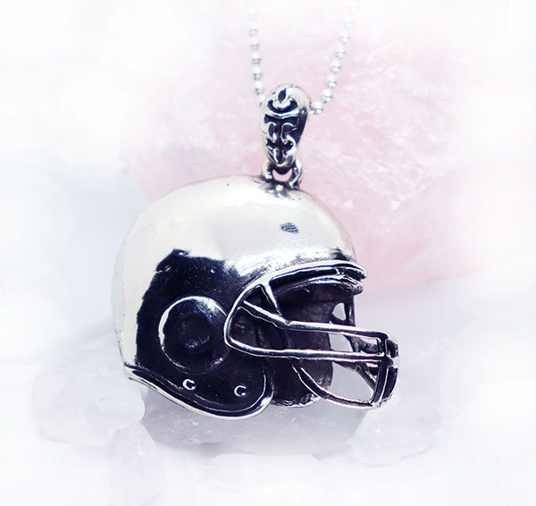 Football Helmet Sterling Silver Pendant