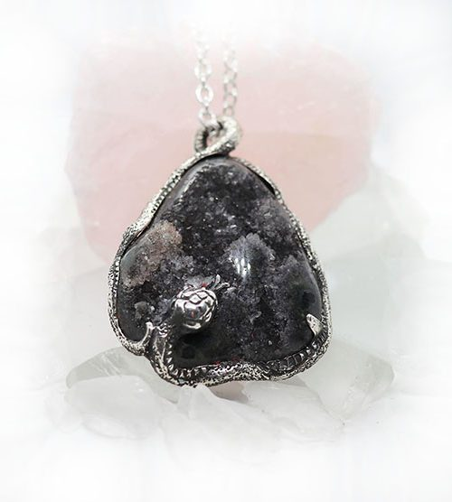 Black Mamba with Natural Amethyst Stone Sterling Silver Necklace