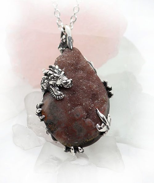Dragon with Natural Amethyst Stone Sterling Silver Necklace