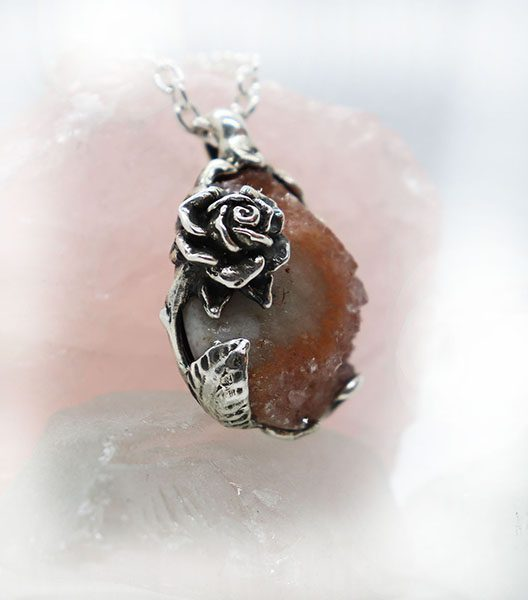 Unique Rose with Natural Amethyst Necklace 2