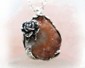 Unique Rose with Natural Amethyst Necklace