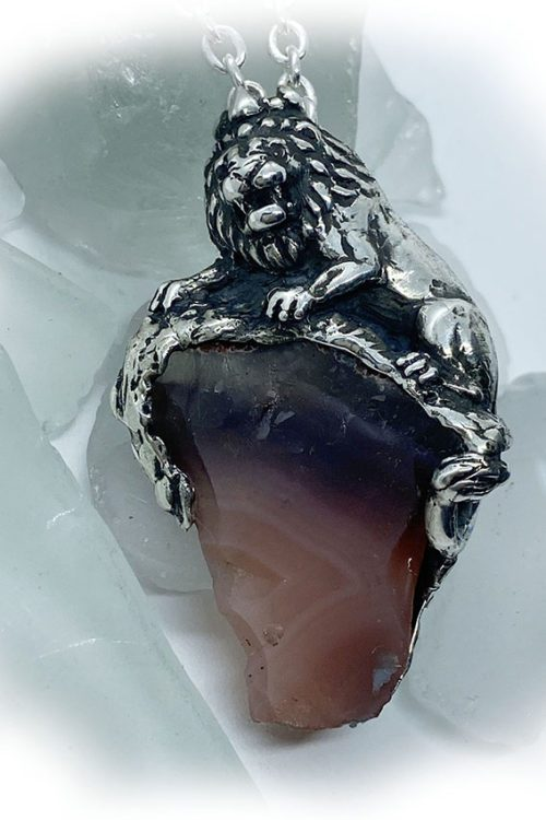 Lion with Natural Agate Stone Sterling Silver Necklace