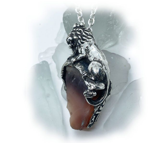 Lion with Natural Agate Stone Sterling Silver Necklace 2
