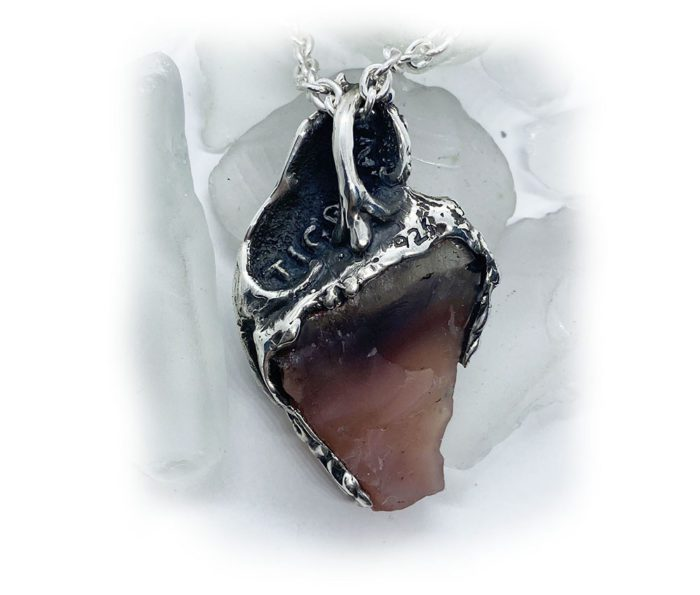 Lion with Natural Agate Stone Sterling Silver Necklace 3