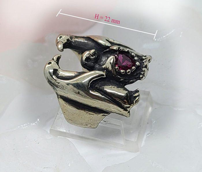 Penguin Family with Heart Shape CZ Stone Ring 2