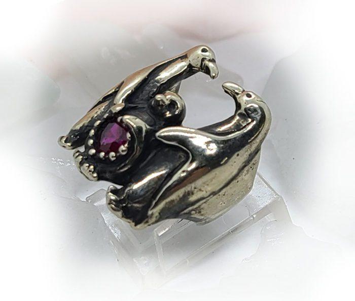 Penguin Family with Heart Shape CZ Stone Ring 3