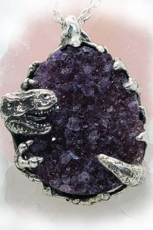 T-Rex Dinosaur with Natural Amethyst Stone Sterling Silver Necklace