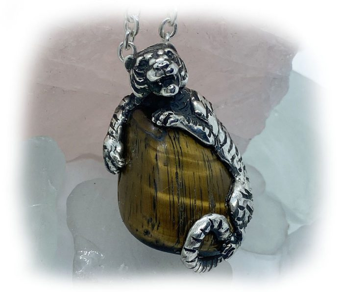 Tiger with Natural Tiger Eye Stone Sterling Silver Necklace