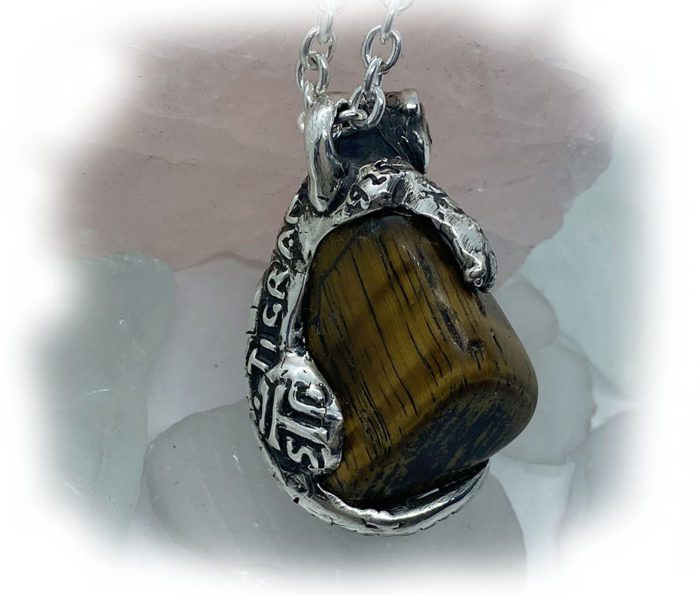 Tiger with Natural Tiger Eye Stone Sterling Silver Necklace 3