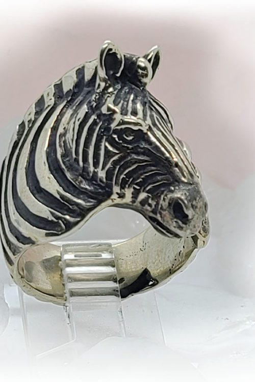 Zebra Sterling Silver Ring